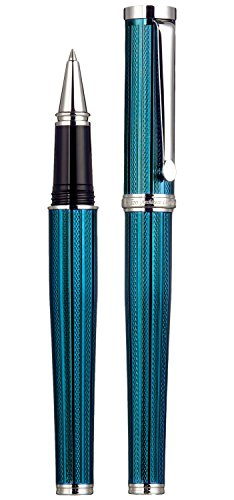 Xezo Architect Fine Executive Rollerball Pen Diamond-Cut Weighty Barrel Numbered Platinum Plated Limited Edition, Azure Blue (Architect Azure Blue R)