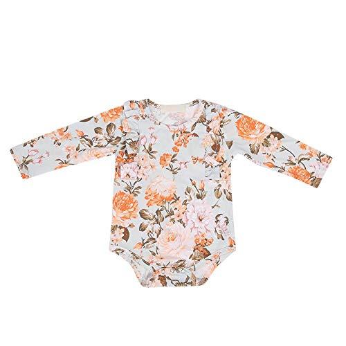 Infant Baby Bodysuit Modische Blumendruck Mädchen Baby Lange Volants Ärmel Rüschen Overall Outfits Kletteranzug für 0-24 Monate Baby (80) Baby Infant Bodysuit