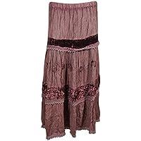 Mogul Interior Womans Maxi Skirt Velvet Vintage Lace Tiered Bohemian Long Skirts