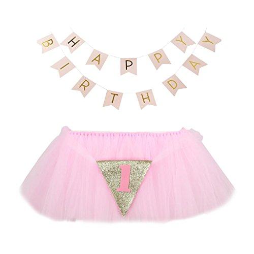 MagiDeal Baby Hochstuhl Tutu Rock Tischdecke/Tischdeko mit Tüll + HAPPY BIRTHDAY Banner für Babyfeiern Geburtstage - ()