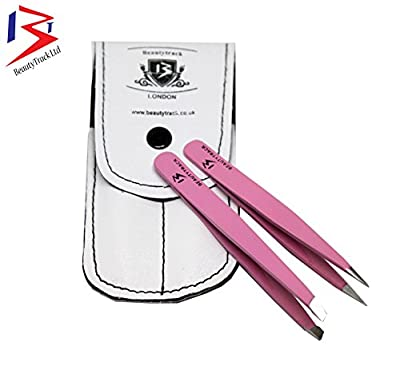 BeautyTrack Pink Professional Eyebrow Tweezers Set with Leather case Point and Slant Stainless Steel Sharp Tips - Precision Fine Quality Handmade Tweezers - Ingrown Hair Removal + White Pouch