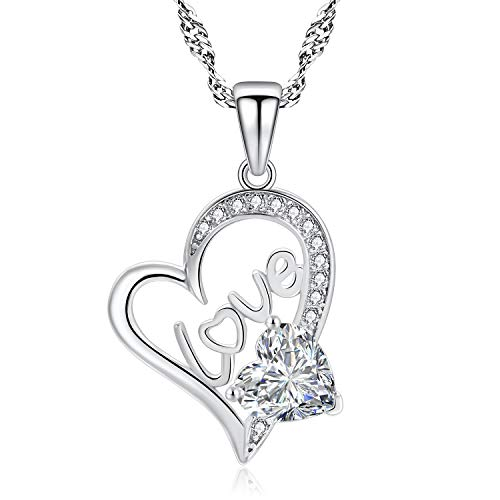 f36fb7fb692 L.Adorer Love Heart-Shaped Necklace for Women and Girls  925 Sterling Silver
