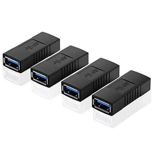 ELUTENG USB Kupplung Buchse auf Buchse 4 Stücken USB Female Adapter von bis zu 5Gbps Verbindung Adapter USB 3.0 Konverter kompatibel für U Stick/Maus/Tastatur/Laptop usw MEHRWEG