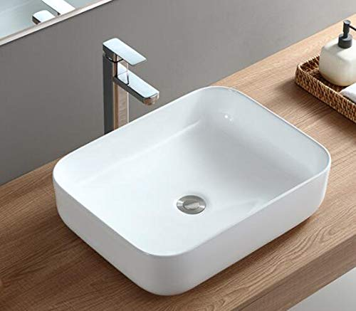 1x Keramikwaschbecken eckig groß Aufsatz Waschbecken Keramik 50x40x13.5cm -