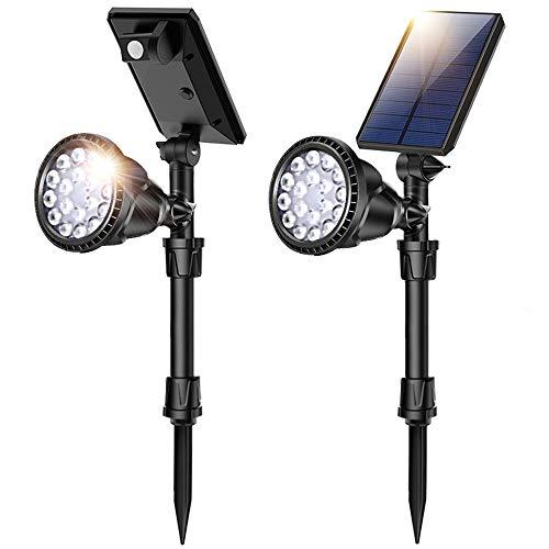 JSOT Solarlampen für Außen - Solarleuchten Garten 18 LED Wasserdichte Wandleuchte Solarlicht mit PIR Bewegungsmelder 4 Beleuchtungsmodi Solarleuchte Aussen für Garten,Einfahrt,(Weißes Licht,2 Stück)