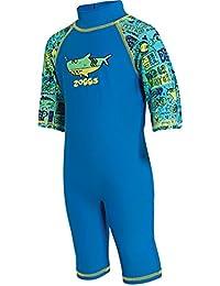 Zoggs, bañador para niños de una pieza con protección solar, Infantil, 1-Piece Deep Sea Sun Protection, Blue/Multi-Colour, 1-2 años
