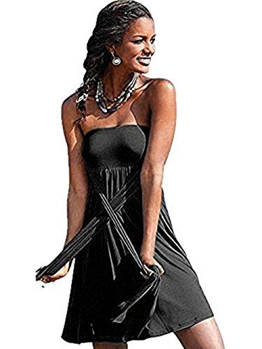 Damen Tankini mit Hotpants Badeanzug Mit Röckchen Neckholder Einteilige Bademode(FBA) Schwarz 1