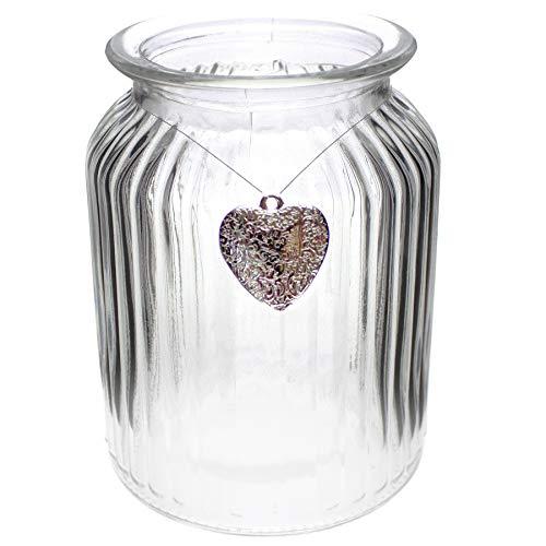 Annastore 12 x Windlichter aus Glas geriffelt inkl. 12 Herzen mit Öse zum Hängen H 14,5 cm - Kerzenhalter - Teelichtgläser - Vasen