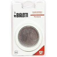 Bialetti 0800006 Lot de 3 Joints + Filtre pour Cafetières Italiennes à 12 Tasses Métal Blanc 5 x 5 x 1 cm