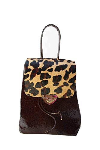 Klappe Schwarz Handtaschen (Cityrucksack Lederrucksack Lederhandtasche Damenrucksack mit Leoparden-Klappe)
