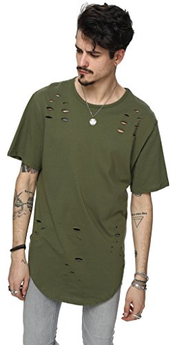 Pizoff Unisex Hip Hop Urban Superlanges T-Shirt in stark zerschlissener Optik und mit rundem Saum Y1725-ArmyGreen-L (Jersey Abs-print)