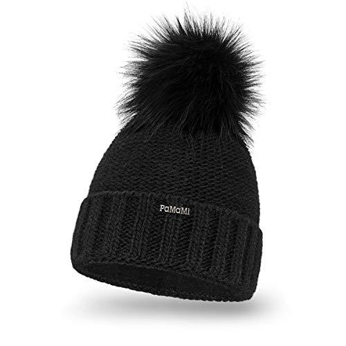 PaMaMi Damen Thermo Wintermütze | warme Strickmütze mit Bommel | Gestrickte weiche Bommelmütze | Slouch Beanie Hergestellt in EU | Farbenauswahl 18572 (Black)