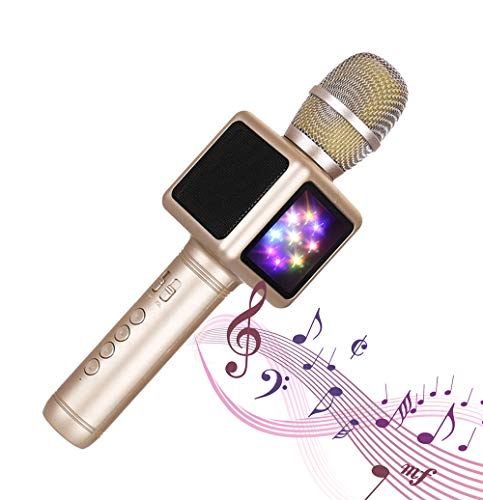 SHENGY Handheld-Mikrofon, Metall Bluetooth Karaoke-Mikrofon, doppelseitige LED-Leuchten, Multi-Layer-Rauschunterdrückung, Support IOS, Android, Windws-System,Gold -
