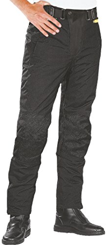 *Schwarze Motorradhose mit herausnehmbarem Thermofutter, Protektoren und Weitenverstellung, für Sommer und Winter, Größe XL*