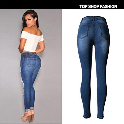 Frauen reizvolle hohe Taillen-Ripped Holes dünne Stretch-Denim-Hosen Füße Jeans-Bleistift-Hosen Blau