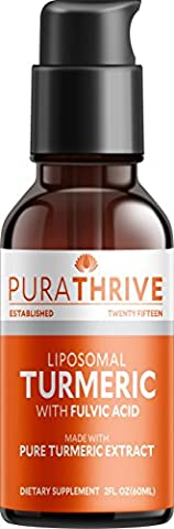 PuraTHRIVE Liquid Turmeric Extract. Premium Supplement made with Organic Turmeric,