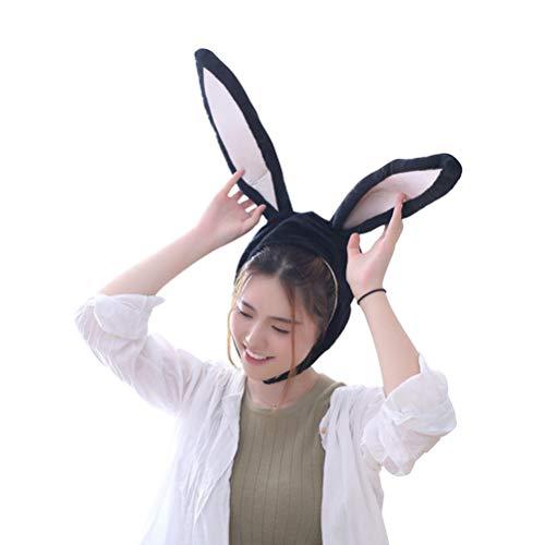 Häschen Kaninchen Kostüm - BESTOYARD Kaninchen Hut mit Ohren Lustige Plüsch Hase Ohren Kappe Kaninchen Kostüm Foto Booth Requisiten (Schwarz)