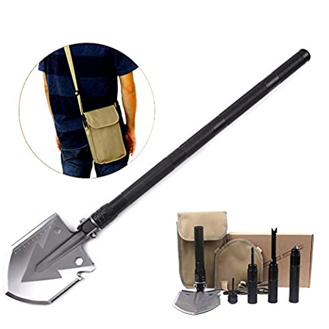 Z&W SHOP Military Folding Shovel Outdoor Portable Survival Tools Multifunctional Stainless Steel Shovel for Camping, Hiking &