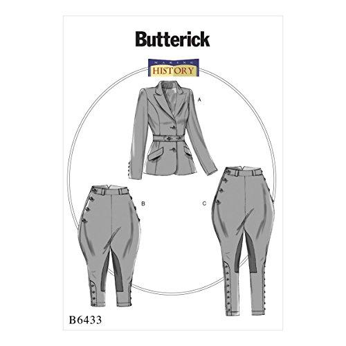 Butterick Patterns Butterick 6433E5, Schnittmuster Jacke, JODPHURS und Hose, Größen 14–22, Mehrfarbig (Durchschnittliche Hose Länge)