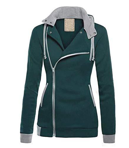 Domorebest Suéter con Capucha Diagonal Zipper Casual Color Block Tops Cálidos Jumper