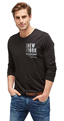 TOM TAILOR Herren Langarmshirt Print Package T-Shirt Black