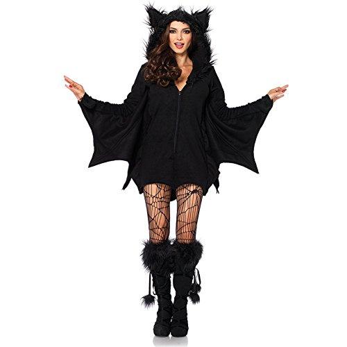 Costour Damen Kostüm für Karneval Halloween Fledermaus Hexe Cosplay Set, Schwarz, XX-Large
