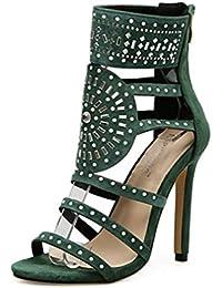 YAN Zapatos de Moda para Mujer Sandalias de Gamuza de tacón Alto Zapatos exóticos Romanos de