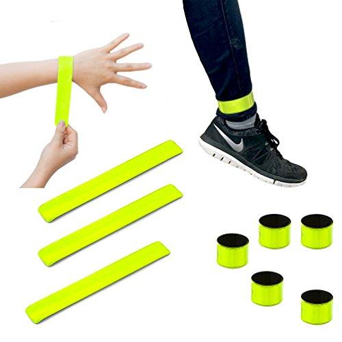 Oblique Unique® Reflektorbänder 10er Set Schnapparmband Reflektorbänder Klatscharmband Reflektierend Sicherheitsband