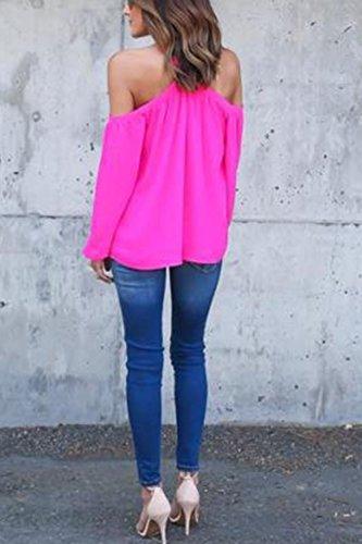 Manches longues dos nu lâche T-shirt mousseline blouses pour femmes Rose