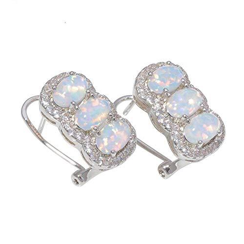 S-PJZ Weiß Blau Zirkonia Silber Überzogene Frauen Schmuck Clip Ohrringe Mode Ohrringe, Ohrringe 1, a - Platin-geld-clip