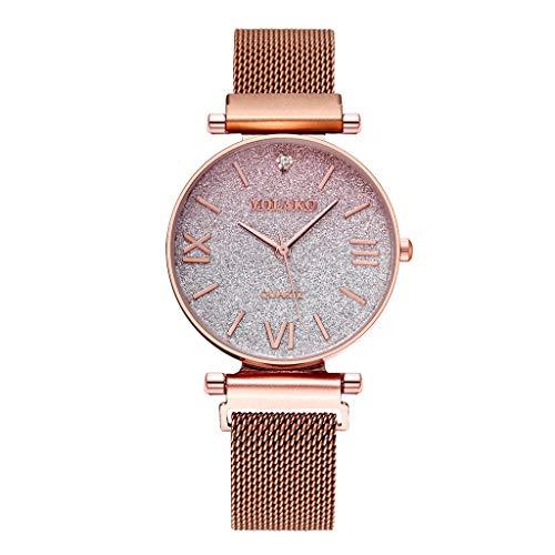 Zimuuy Damen Uhren Analog Quarz Armbanduhr Edelstahl Farbverlauf Uhr Modeschmuck (Gold)