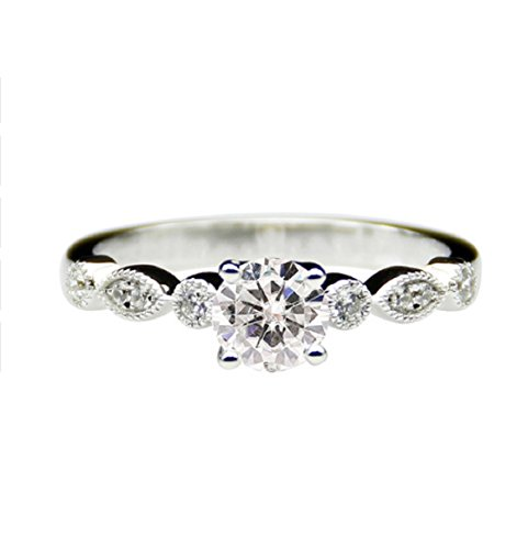 Rundschliff moissanites Center Solide 14 K Weiß Gold Retro Engagement Ring (Moissanite Ringe)