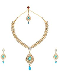 Dancing Girl Kundans Wedding Turquoise Metal Alloy Jewellery Set With Necklace Earring And Maang Tika For Women
