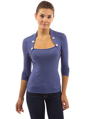PattyBoutik femmes Blouse avec les boutons decoratifs à manches longues en style boléro Bleu