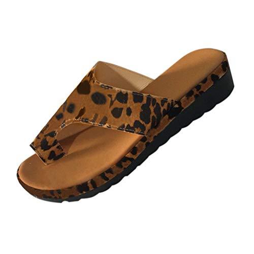 DOLDOA Sommerturnschuhe,Damen Flip Flop Wedge Sandalen Open Toe Slide Hausschuhe Sommer Beach Walk Schuhe (41 EU, Braun) Ring Slide Sandalen