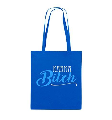 Comedy Bags - KARMA BITCH - Jutebeutel - lange Henkel - 38x42cm - Farbe: Weiss / Fuchsia-Türkis Royalblau / Weiss-Hellblau
