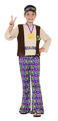 Boy Kostüm Jahre 70er - Fancy Ole - Jungen Boy Kinder Flower Power 70er Jahre Hippie Kostüm mit Oberteil mit befestigter Weste, Hose, Anhänger und Kopfband, perfekt für Karneval, Fasching und Fastnacht, 140-152, Lila