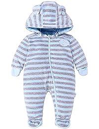 Bebé Ropa de Invierno Mameluco con Capucha Traje de Nieve Niñas Niños Pelele de Algodón Trajes a rayas 0-12 Meses