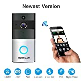 HOMSCAM Video Doorbell Wireless with Two-Way Talk PIR Motion Detection Infrared Night Vision 720P HD Doorbell Camera for Home(Batteries not Included)