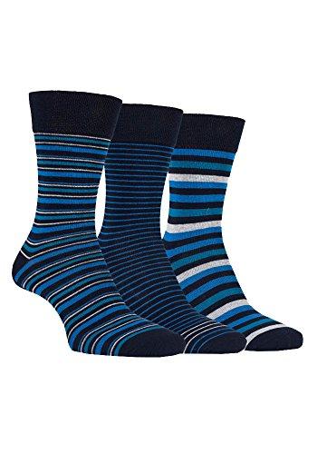Farah - 3 Paar Herren Elegante Gemustert Farbig Bunt Baumwolle Comfort Premium Business Socken / Verschiedene Farben (39-45 EU, CS115NVY (Striped)) (Herren Baumwolle Kleid Socken)