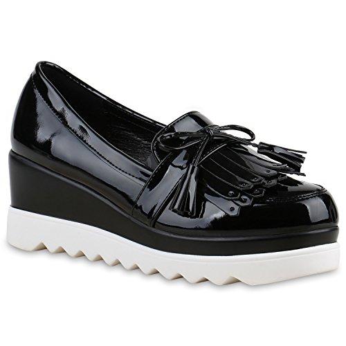 Stiefelparadies Damen Slippers Plateauschuhe mit Keilabsatz Metallic  Quasten Flandell b893bf1bec