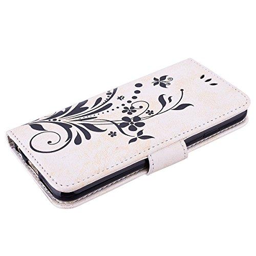 GrandEver iPhone 6S Hülle,iPhone 6 (4.7 Zoll) Lederhülle Narcissus Muster Handyhülle Blau Drucken Schutzhülle Handschlaufe Tasche Scratch Wallet Case Schale Flip Cover Schale mit Standfunktion Kreditk Weiß