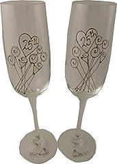 Idea Regalo - 25° Matrimonio Anniversario D'argento Paio di Calici Per Champagne Fiore
