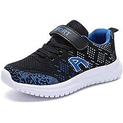 Chaussures de Sport Enfant Garçon Baskets Mode Fille Chaussures de Running Garçon Chaussures de Sport en Salle Enfants Chaussures Garçon Bleu Noir 28