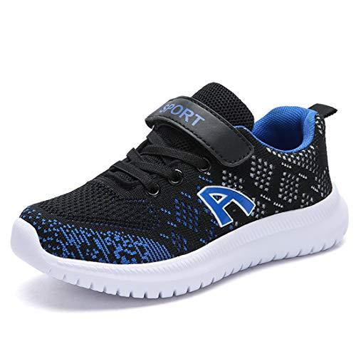 ZOSYNS Hallenschuhe Kinder Sneaker Jungen Sportschuhe Mädchen Turnschuhe Kinderschuhe Outdoor Laufschuhe für Unisex-Kinder Schwarz Blau 36