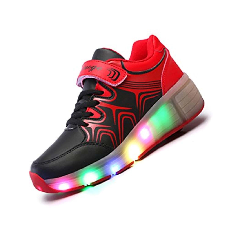 Roller-Skate shoes - Aimoge Boys Girls Kids Roller Shoes Ultra Light Up Roller-Skate Heelys Wheel Shoes Sneaker -Red Black, 33