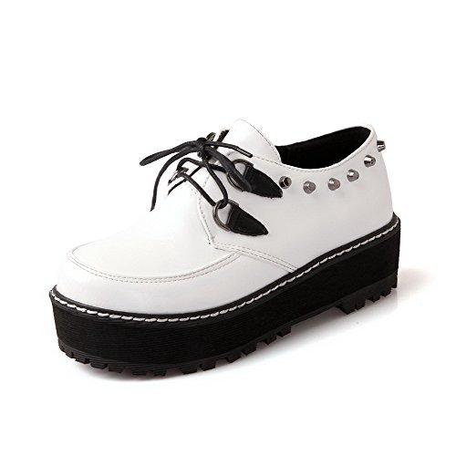 VogueZone009 Femme Pu Cuir Mosaïque Lacet Rond à Talon Correct Chaussures Légeres Blanc