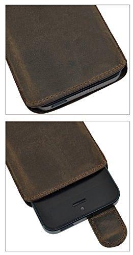 Suncase Ledertasche mit Rückzugsfunktion für das Apple iPhone 5 / 5S in schwarz braun / antik