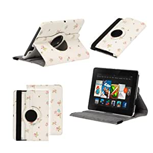 Neotechs® Vintage Flower Luxury Leather Rotating 360° Stand Case Cover Wallet for Amazon Kindle Fire HD