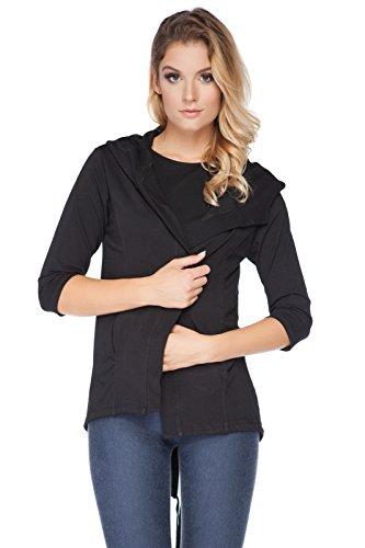 FUTURO FASHION - Sweat à capuche - Blazers - Manches 3/4 - Femme Gris Graphite Taille Unique Noir - Noir